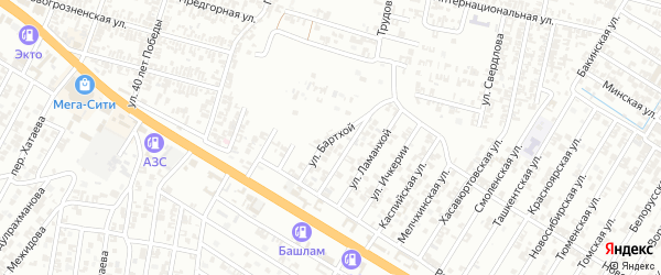 Улица Бартхой на карте Гудермеса с номерами домов