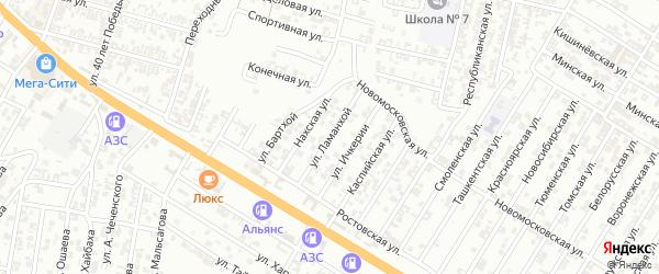 Улица Ламанхой на карте Гудермеса с номерами домов
