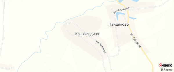 Карта деревни Кошкильдино в Чувашии с улицами и номерами домов