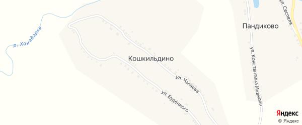 Улица Чапаева на карте деревни Кошкильдино с номерами домов