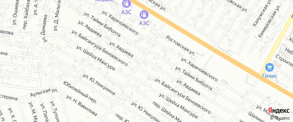 Улица Авдаева на карте Гудермеса с номерами домов
