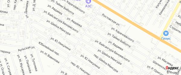 Улица Б.Беноевского на карте Гудермеса с номерами домов