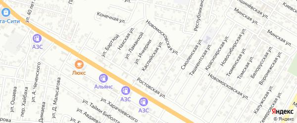 Каспийская улица на карте Гудермеса с номерами домов