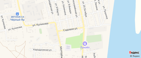 Садовая улица на карте села Черного Яра с номерами домов