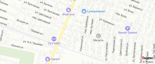 Автодромная улица на карте Гудермеса с номерами домов