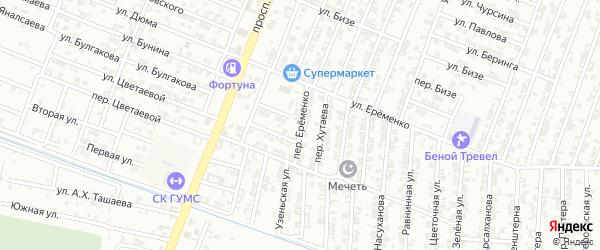 Переулок Еременко на карте Гудермеса с номерами домов