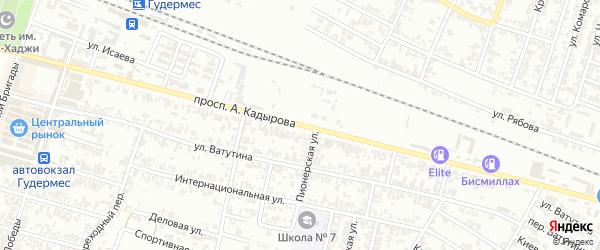 Улица А.Кадырова на карте села Нового Энгеной с номерами домов