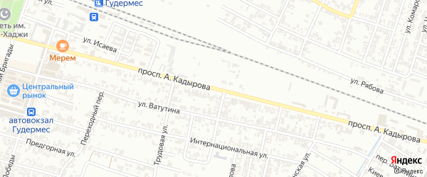 Улица А.Кадырова на карте Н.Беноя поселка с номерами домов
