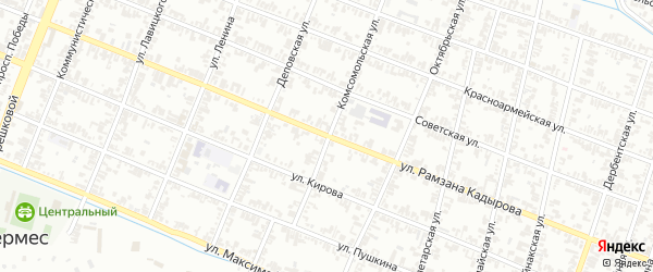 Улица А.А.Кадырова на карте села Хангиш-юрт с номерами домов