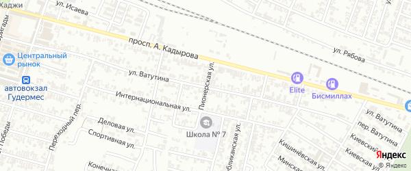 Пионерская улица на карте Гудермеса с номерами домов