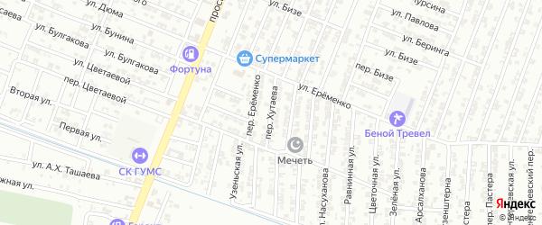 Переулок Хутаева на карте Гудермеса с номерами домов