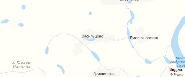 Карта деревни Васильцово в Архангельской области с улицами и номерами домов
