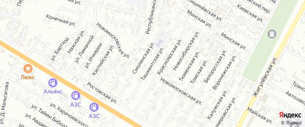 Ташкентская улица на карте Гудермеса с номерами домов
