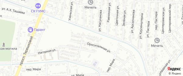 Оросительный переулок на карте Гудермеса с номерами домов