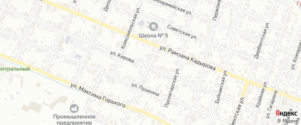 Октябрьская улица на карте села Нового Энгеной с номерами домов