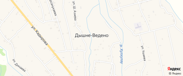 Улица С.Мирзоева на карте села Дышне-Ведено с номерами домов