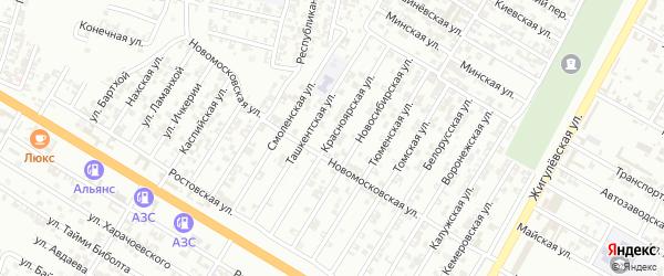 Красноярская улица на карте Гудермеса с номерами домов