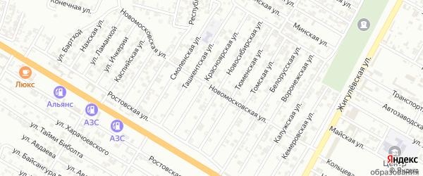 Новомосковская улица на карте Гудермеса с номерами домов