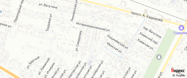 Тепловозная улица на карте Гудермеса с номерами домов