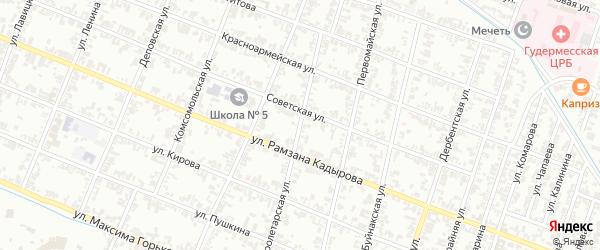 Пролетарская улица на карте Гудермеса с номерами домов