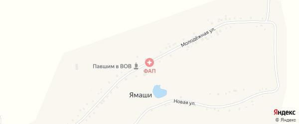 Молодежная улица на карте деревни Ямашей с номерами домов