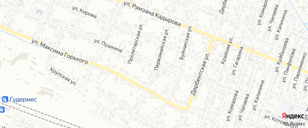 Улица Пушкина на карте Гудермеса с номерами домов
