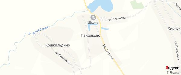 Карта села Пандиково в Чувашии с улицами и номерами домов