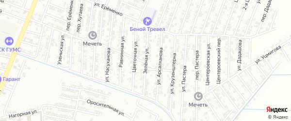 Зеленая улица на карте Гудермеса с номерами домов