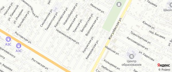 Воронежская улица на карте Гудермеса с номерами домов