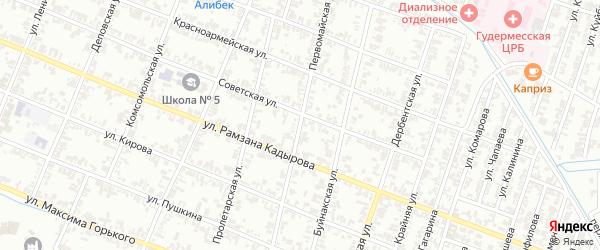 Первомайская улица на карте села Илсхан-Юрт с номерами домов
