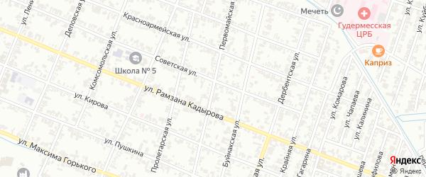 Первомайская улица на карте Гудермеса с номерами домов