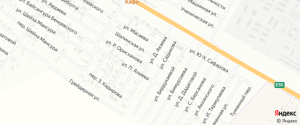 Улица Д.Акаева на карте Гудермеса с номерами домов