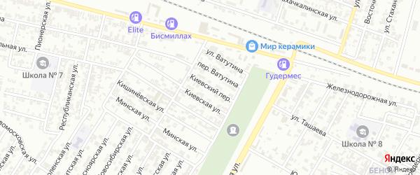 Киевский переулок на карте Гудермеса с номерами домов