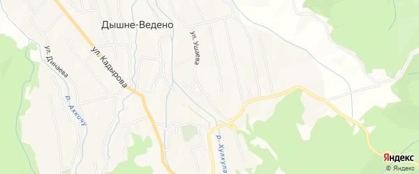 Карта села Дышне-Ведено в Чечне с улицами и номерами домов