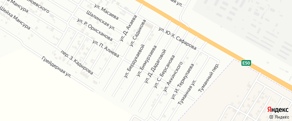 Улица З.Бимурзаева на карте Гудермеса с номерами домов