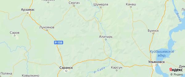 Карта Ардатовского района республики Мордовия с населенными пунктами и городами