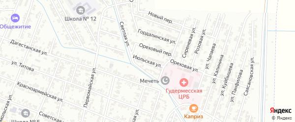 Июльская улица на карте Гудермеса с номерами домов