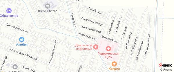 Июльская улица на карте села Нового Энгеной с номерами домов