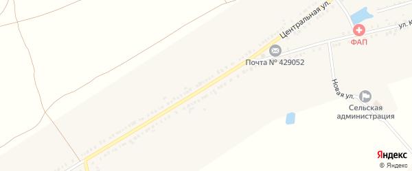 Центральная улица на карте села Первые Хоршеваши с номерами домов