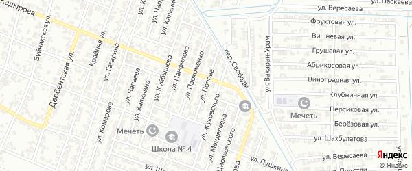 Улица Попова на карте Гудермеса с номерами домов