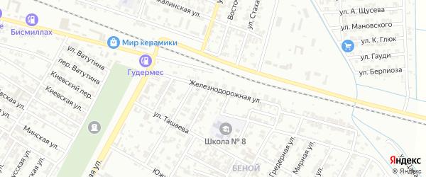 Железнодорожная улица на карте Гудермеса с номерами домов