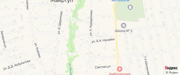 Улица Х.Нурадилова на карте села Цоци-Юрт с номерами домов