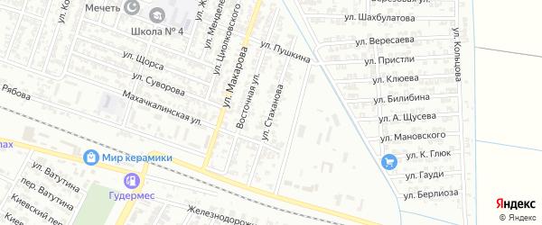 Улица Стаханова на карте Гудермеса с номерами домов