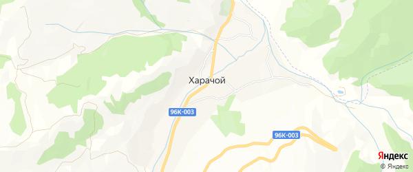 Карта села Харачой в Чечне с улицами и номерами домов