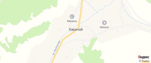 Школьной переулок на карте села Харачой с номерами домов