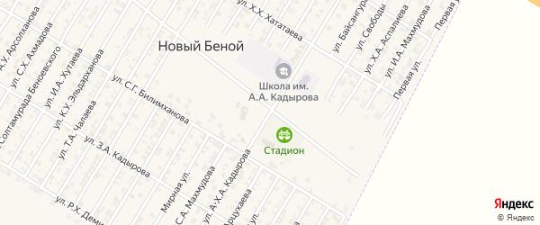 Улица А-Х.Кадырова на карте села Нового Энгеной с номерами домов