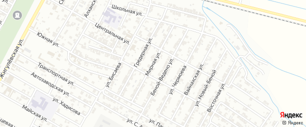 Мирная улица на карте Гудермеса с номерами домов