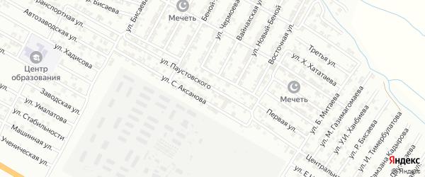 Улица Паустовского на карте Гудермеса с номерами домов