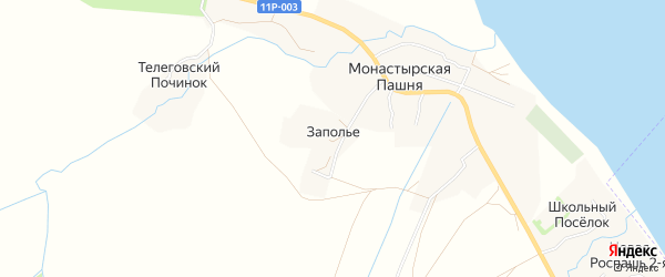 Карта деревни Заполья в Архангельской области с улицами и номерами домов