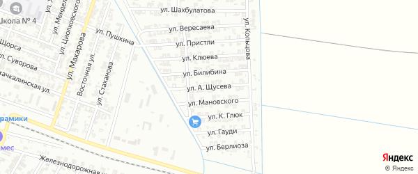 Улица Щусева на карте Гудермеса с номерами домов